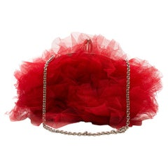 Christian Louboutin red-tulle clutch