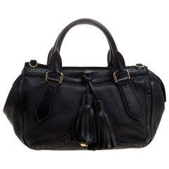 Burberry Black Leather Logos Fringe 2 Way Hand Shoulder Tote