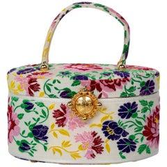 Susan Bennis Warren Edwards Floral Brocade Vintage Top Handle Bag