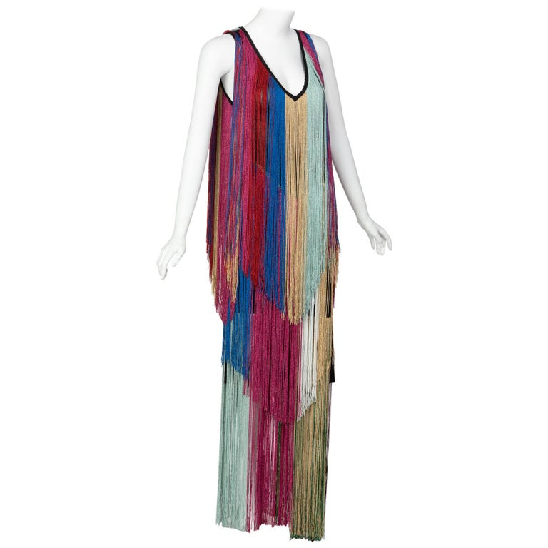 Roberto Cavalli Rainbow Fringe Maxi Dress, Resort 2017 For Sale