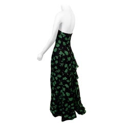 Carolina Herrera Vine Patterned Silk Organza Evening Dress with Sequin Trim
