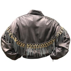 Gianni Versace 1984 Lambskin Leather Men's Jacket with Beaded Fringe