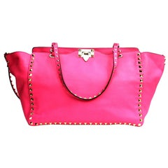 Valentino Pink Leather Rockstud Trapeze Shoulder Bag