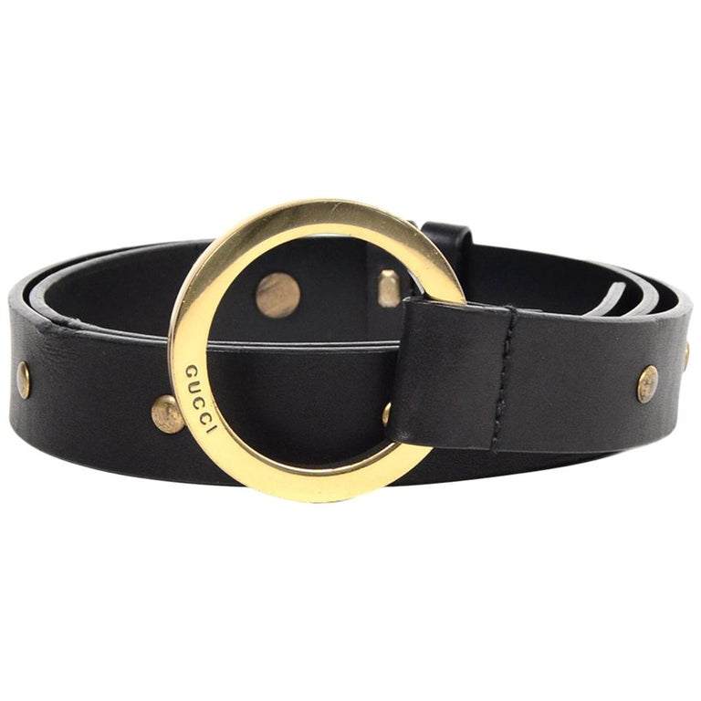 0f18ec44f Gucci Black Leather/Gold Studded Belt W/ Circle Buckle Sz 70/28 For ...