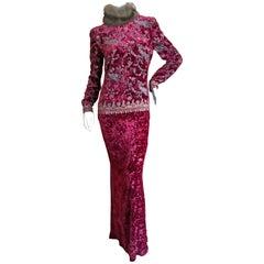 Oscar de la Renta Vintage 1980's Gold on Red Velvet Column Dress w Sable Collar