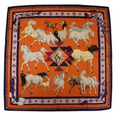 Hermes Silk Carres Scarf,  Les Chevaux Qataris, 2008, by Hubert de Watrigant
