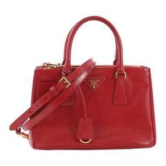 Prada Double Zip Lux Tote Vernice Saffiano Leather Small