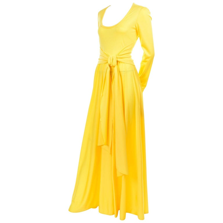 Lillie Rubin Collection 700 Vintage Dress in Yellow Jersey With Sash For Sale