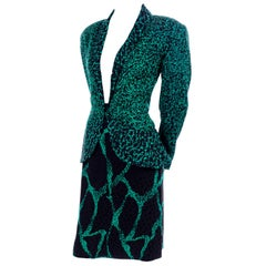 1980s Vicky Tiel Green & Black Abstract Animal Print Silk Skirt & Jacket Suit