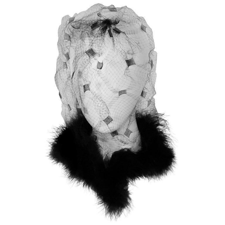 Bill Cunningham William J. Maribou Trimmed Veil For Sale