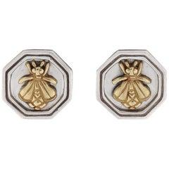 SLANE & SLANE Sterling Silver 18K Gold Honeycomb Hexagon Bee Clip On Earrings