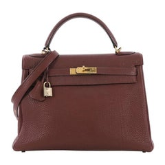 Hermes Kelly Handbag Rouge H Togo with Gold Hardware 32