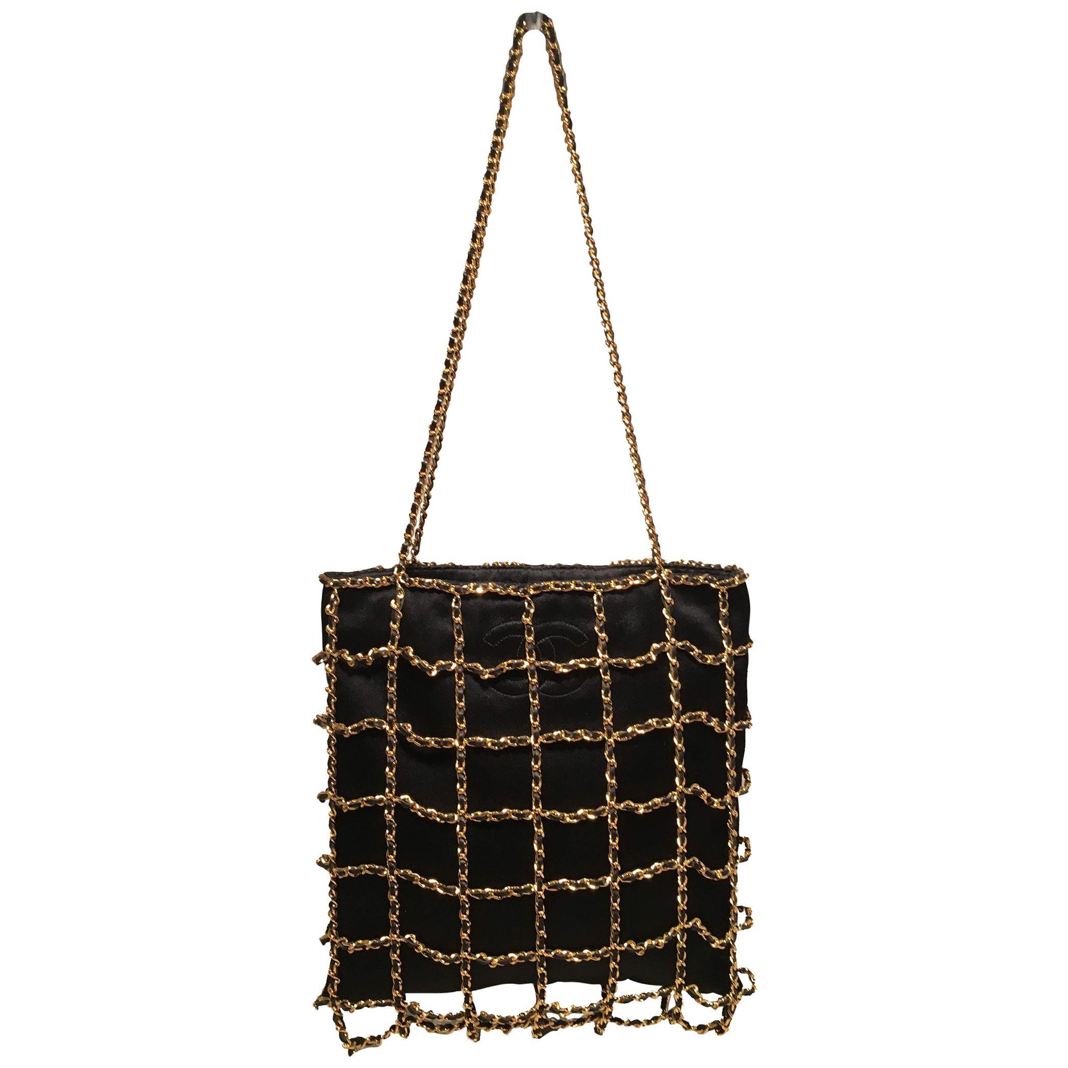 RARE Chanel Vintage Black Silk Chain Cage Evening Shoulder Bag