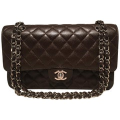 Chanel Brown Caviar Medium 10inch 2.55 Double Flap Classic Shoulder Bag