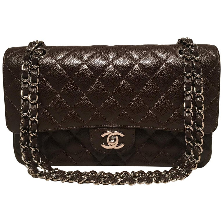 ddf18660b65a Chanel Brown Caviar Medium 10inch 2.55 Double Flap Classic Shoulder Bag For  Sale