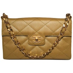 Chanel Caviar Gold Metallic Chartreuse Green Quilted Classic Flap Shoulder Bag