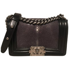 924a08966286 RARE Chanel Black Leather and Grey Galuchat Stingray Small Boy Bag Classic  Flap