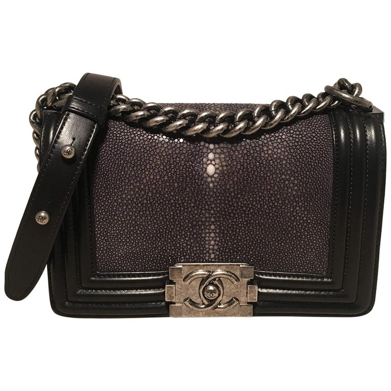 b245fe9cf3e49c RARE Chanel Black Leather and Grey Galuchat Stingray Small Boy Bag Classic  Flap For Sale