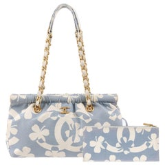 ca3f4a5ebde6 CHANEL S/S 2004 Powder Blue Four Leaf Clover Canvas Chain Handle Purse w/