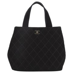 Chanel Vintage CC Tote Quilted Suede Small