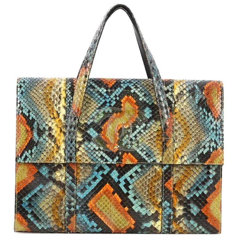 188f2e18c8d0 Chanel CC Flat Handle Bag Python Mini For Sale at 1stdibs