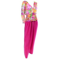 Yves Saint Laurent 1990s Pink Silk Pants & Floral Peplum Blouse W/ Gold Lame