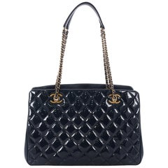 Chanel Eyelet Tote Quilted Patent Medium