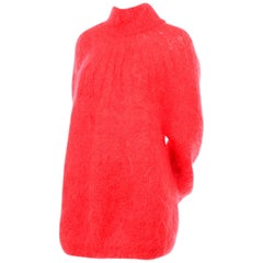 Italian Made 1980s Mohair Blend Coral Oversized Sweater or Sweater Dress