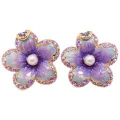 "Jay Strongwater ""Spring Blossom"" Enamel Crystal & Simulated Pearl Clip Earrings"