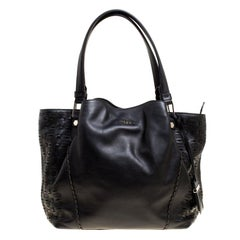 Tod's Black Laser Cut Leather Medium Flower Tote