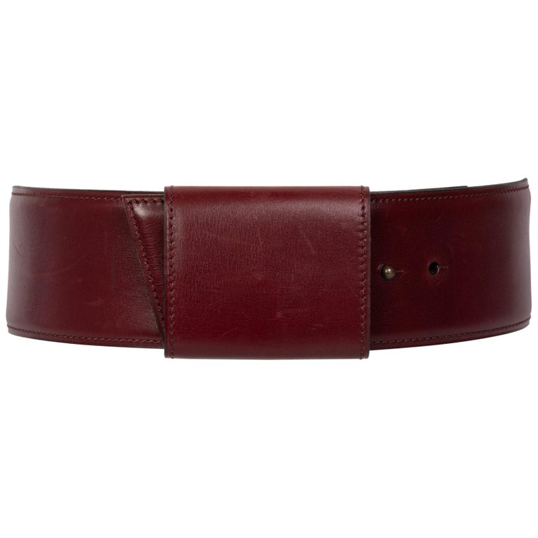 Vintage Alaïa Burgundy Leather Waist Belt For Sale