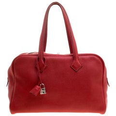 Hermes Rougue Garance Togo Leather Victoria II Bag