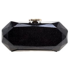 Chanel Black Glitter Leather Crystal Jewel Charm Kiss Lock Minaudière Clutch