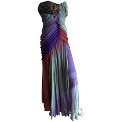 Christian Lacroix Vintage Ombre Silk Chiffon Strapless Corseted Evening Dress