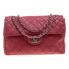Chanel Red Quilted Leather Maxi Jumbo XL Classic Flap Bag