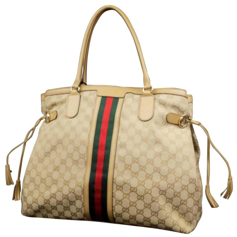 526f68815547dd Gucci Sherry Monogram Vintage Web Tassel Tote 228679 Beige Canvas Hobo Bag  For Sale