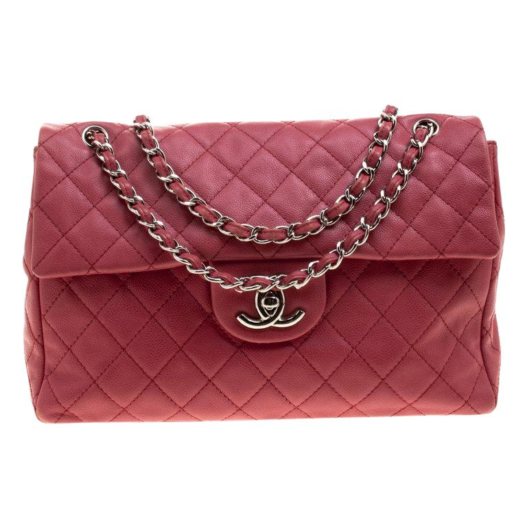 9c07c7019cb2f5 Chanel Red Quilted Leather Maxi Jumbo XL Classic Flap Bag For Sale ...