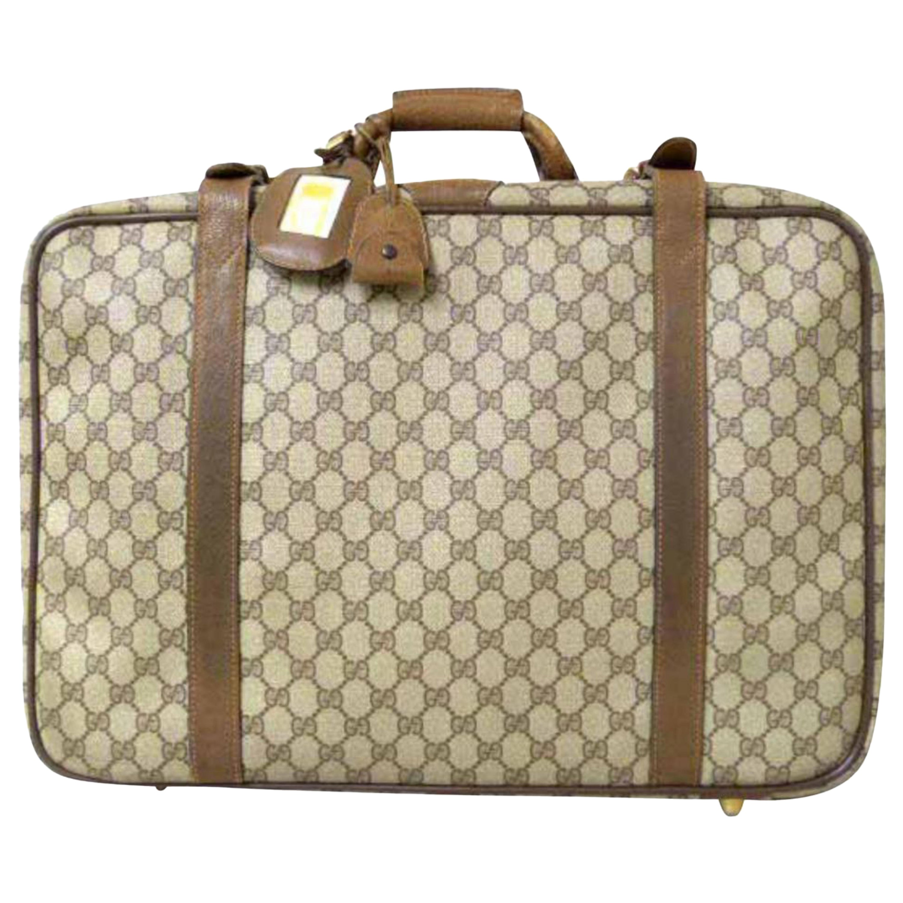f7685659657 Gucci Supreme Gg Monogram Luggage 228869 Brown Coated Canvas Weekend Travel  Bag For Sale at 1stdibs