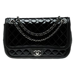 Chanel Black Quilted Patent Leather Classic Flap Bag