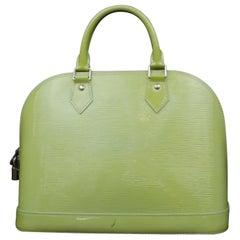 Louis Vuitton Alma Amande Pm 232546 Green Patent Leather Satchel