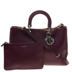 Dior Burgundy Pebbled Leather Large Diorissimo Shopper Tote