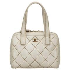 Chanel White Surpique Leather Handbag