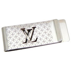 Louis Vuitton Silver Initials Lv Logo Champs Elysees Bill Money Clip 232648