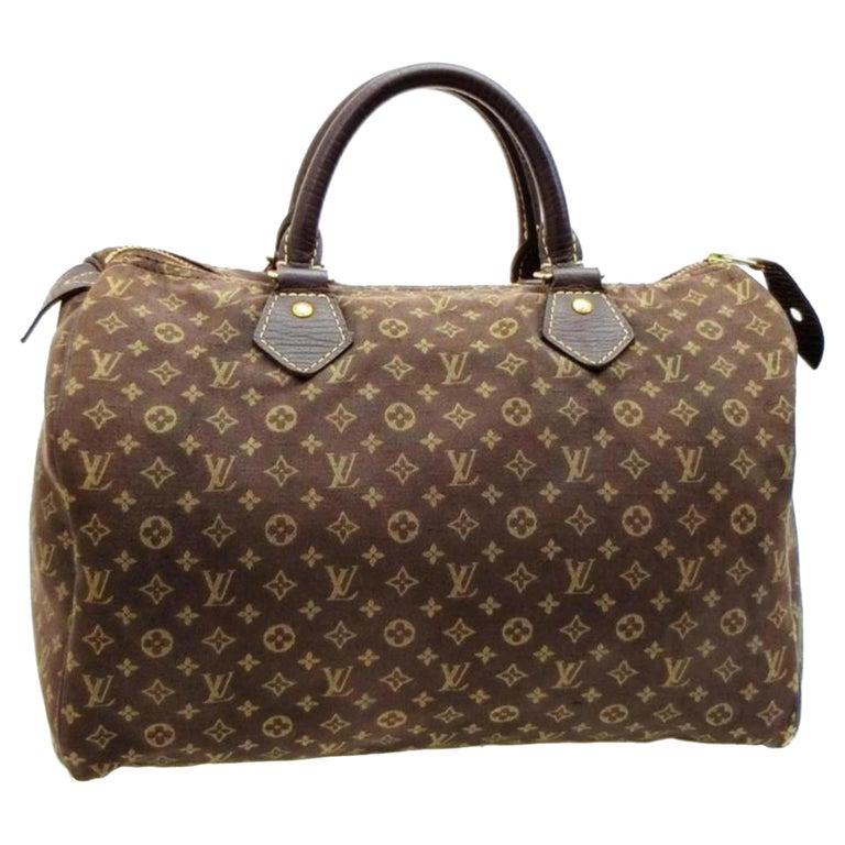 d70990f82137 Louis Vuitton Speedy Ebene Monogram Mini Lin 30 228807 Brown Canvas Satchel  For Sale