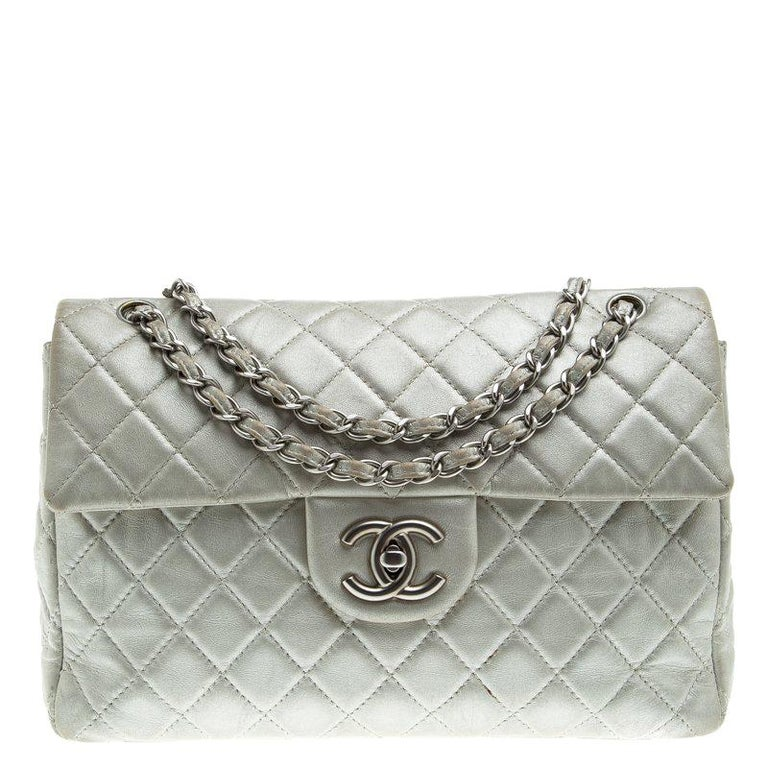 579a49b259cc Chanel Grey Quilted Iridescent Leather Maxi Classic Single Flap Bag For Sale