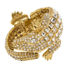 KJL Kenneth Jay Lane Crystal Pavé Crocodile Bangle Bracelet in Gold
