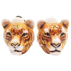 "Jay Strongwater ""Call of the Wild"" Enamel Tiger Head Clip On Earrings in Gold"
