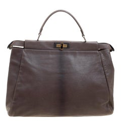 Fendi Dark Beige Ombre Leather Large Peekaboo Top Handle Bag