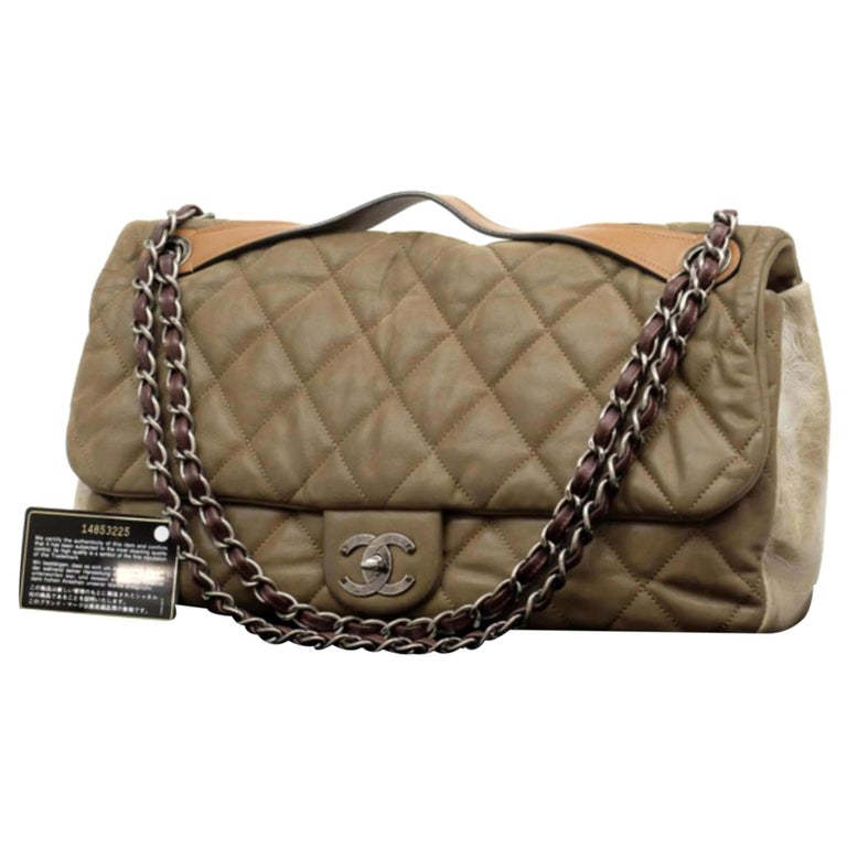 e370a4e56bb5 Chanel Classic Flap Extra Large Maxi 2way 230562 Brown Leather Shoulder Bag  For Sale