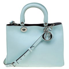 Dior Light Mint Leather Medium Diorissimo Shopper Tote